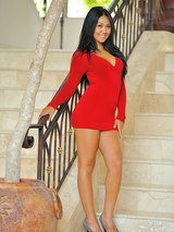 Cornine in a red dress and black panties 00