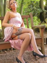 Leah F in a lilac evening dress 05