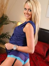 Rachael in dark blue minidress 03