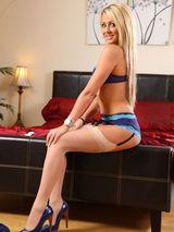 Rachael in dark blue minidress 09