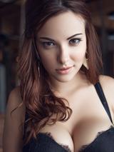 Glamorous babe in black lingerie 06