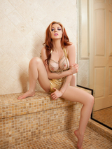 Redhead cybergirl in the shower 01