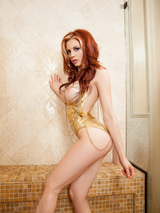 Redhead cybergirl in the shower 02