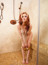 Redhead cybergirl in the shower 06