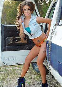 Becky Holt Strips Her Denim Top