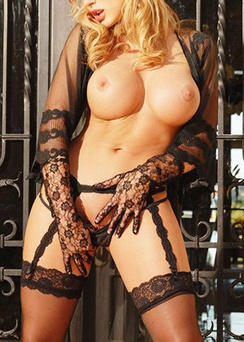 Big Boobed Blonde Divini Rae In Black Lingerie