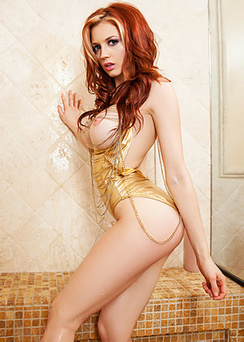 Redhead cybergirl in the shower
