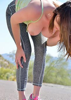 Amber Running Topless