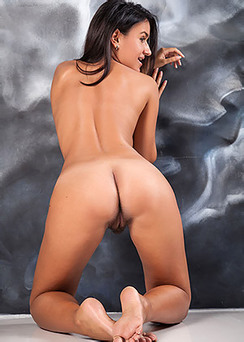 Busty Latina Girl Sanita Spreads Her Hairy Pussy